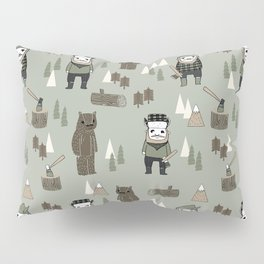 Forest lumberjack and bear nursery kids cute woodland camper gifts Pillow Sham