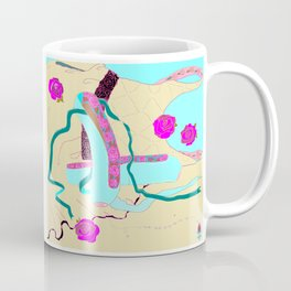 Teal Ballet Shoes and Beige Ballet Dress with Fleur de Lis Coffee Mug