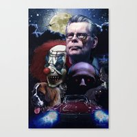 stephen king Canvas Prints featuring Stephen King by Saint Genesis