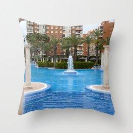 Solana Hotel Swimming Pool Benidorm Spain Throw Pillow