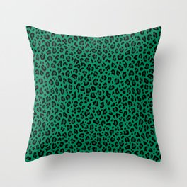 LEOPARD PRINT in GREEN   Collection : Leopard spots – Punk Rock Animal Print Throw Pillow