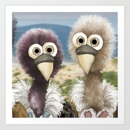 series: Old World Vultures - Gyps rueppellii and Gyps fulvus Art Print