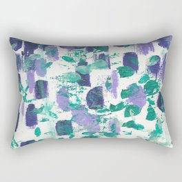 Experimental 3 - Abstract painting in modern bright indigo, purple, cream, and green dots Rectangular Pillow
