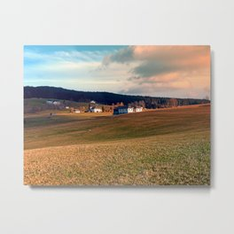 Meadows and farms in rural scenery | landscape photography Metal Print