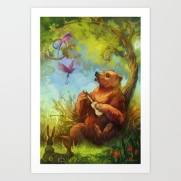 Bear and ukulele Art Print
