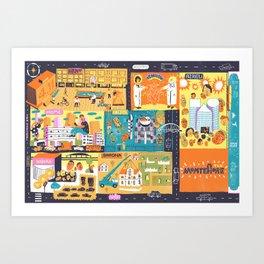 Tel Aviv Map - Montefiore Quarter Art Print