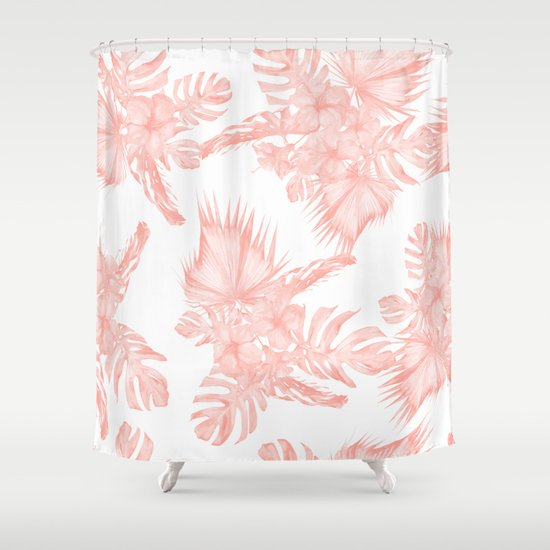 Tropical Hibiscus And Palm Leaves Coral White Shower Curtain By Simple Luxe