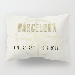 Barcelona - Vintage Map and Location Pillow Sham