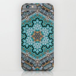 Aqua, Gold and Blue Tile 1 iPhone Case