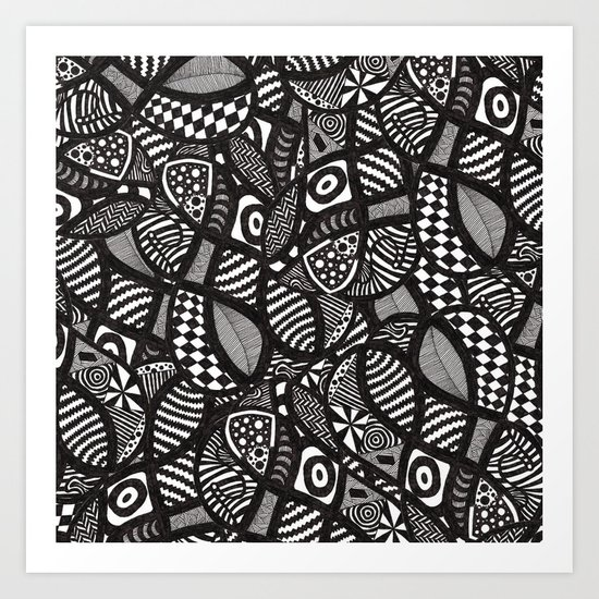 Monochrome Wackadoodle Art Print