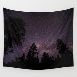 Busy Sky - Shooting Stars, Planes and Satellites in Colorado Night Sky Wall Tapestry