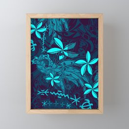 Polynesian Teal Tribal Leaf And Floral Printed Framed Mini Art Print