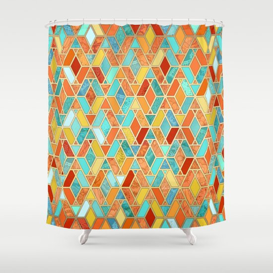 tangerine & turquoise geometric tile pattern shower curtain