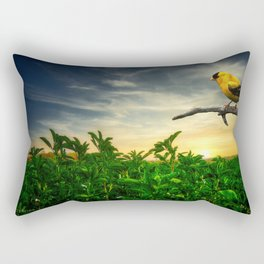 Little yellow bird in the green field Rectangular Pillow