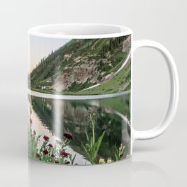 Natures Bouquet // Green and Red Floral Foreground Mountain and Moon Reflection Coffee Mug