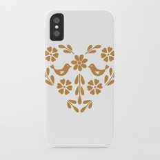 Golden heart shaped floral and bird iPhone X Slim Case