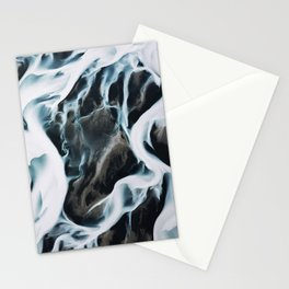 Aerial of an abstract River in Iceland Stationery Cards