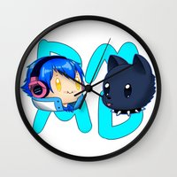 dmmd Wall Clocks featuring DMMD- chibi Aoba and Ren by prpldragon