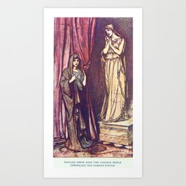 Arthur Rackham - Lamb's Tales from Shakespeare (1909) - Paulina and the Statue (A Winter's Tale) Art Print