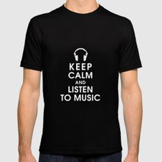 Keep Calm and Listen to Music MEDIUM Black Mens Fitted Tee
