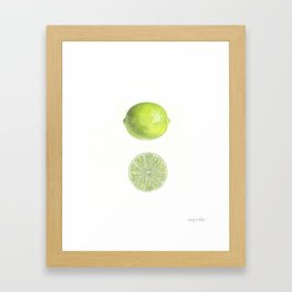 Lime with Cut Half Framed Art Print