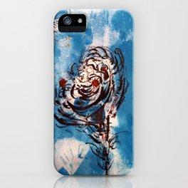 Blue Rose Mono Print iPhone Case