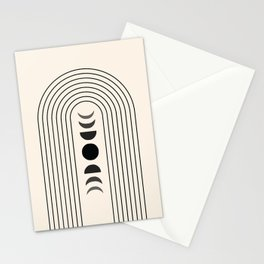 Geometric Lines in Black and Beige 13 (Rainbow and Moon Phases) Stationery Cards