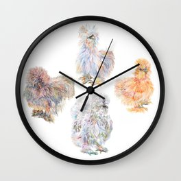 Silkie Chickens Wall Clock