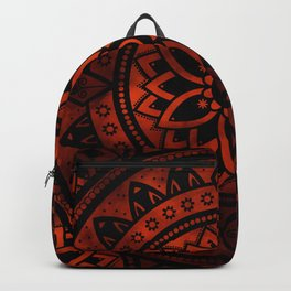 Burnt Orange & Black Patterned Flower Mandala Backpack
