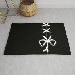 Laced White Ribbon on Black Rug