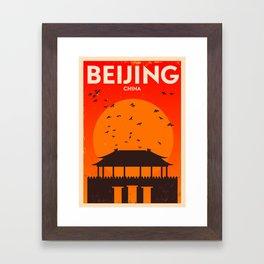 Beijing City Retro Poster Framed Art Print