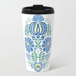 Moravian Folk Design Blue Travel Mug