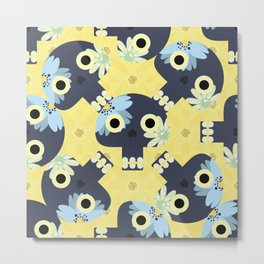 Cute pattern with funny skulls and yellow flowers Metal Print