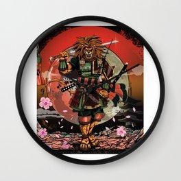 Samurai Lion Gift, T shirt, sticker Wall Clock