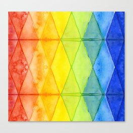 Geometric Abstract Rainbow Watercolor Pattern Canvas Print