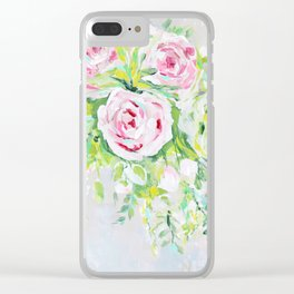 Pink rose floral bouquet Clear iPhone Case