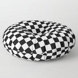 White and Black Checkerboard Floor Pillow
