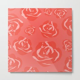 Dusty Rosy Roses and Pinks on Peachy Peach Metal Print