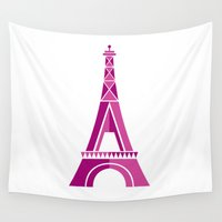 eiffel tower Wall Tapestries featuring Eiffel Tower by Love Ashley Designs