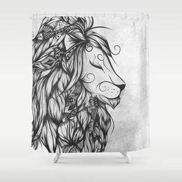 Poetic Lion B&W Shower Curtain