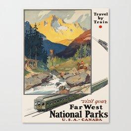 Vintage poster - National parks Canvas Print