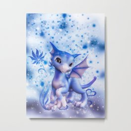 Cuddle me Dragon in blue Metal Print