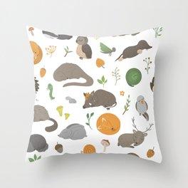 Sleeping animals funny seamless pattern hand drawn flat  Throw Pillow