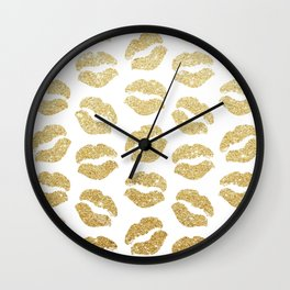Gold Glitter Lips Wall Clock