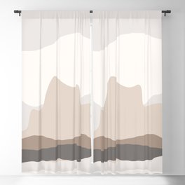 Abstract Nature painting, Beige earth tone Decorative hills mountains, Pastel colors, Blackout Curtain