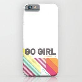 Feminist geometric go girl motivational pink iPhone Case