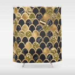 Ebony ink - golden mermaid scales Shower Curtain