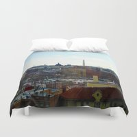 washington dc Duvet Covers featuring Washington DC Rooftops by Robert McHugh