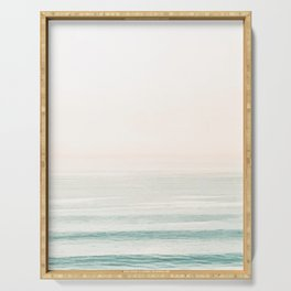 Washed Out Ocean Waves // California Beach Surf Horizon Summer Sunrise Abstract Photograph Vibes Serving Tray