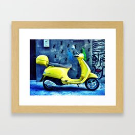 A Yellow Scooter Framed Art Print